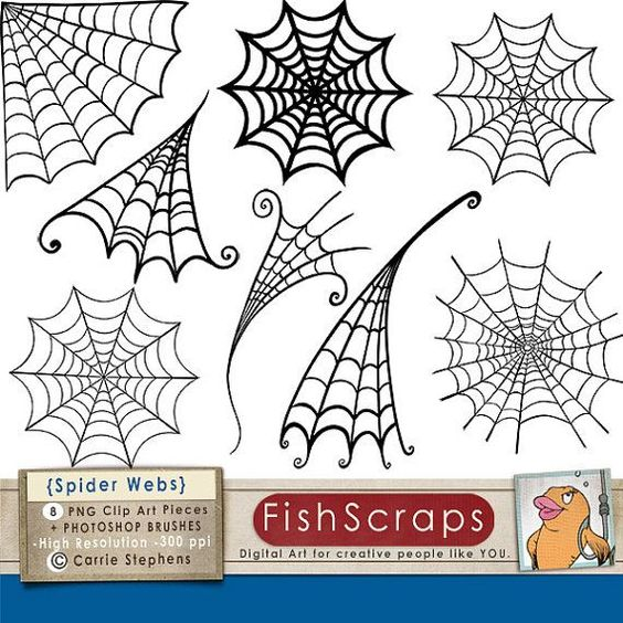Spider Web Clip Art, Spooky Halloween Clip Art, Digital Stamps +.