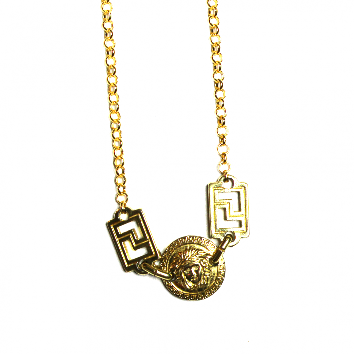 Small Gold Gianni Versace Double Sided Medusa Head Coin Chain with Greek  Key Accents.