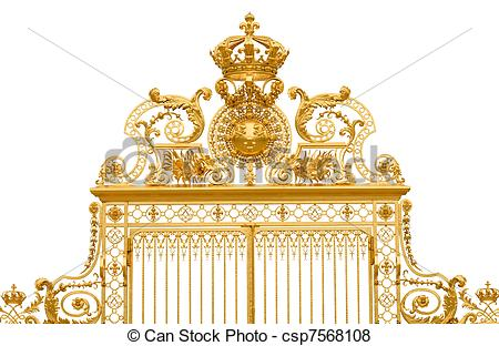 Pictures of Isolated golden gate fragment of Versailles king's.