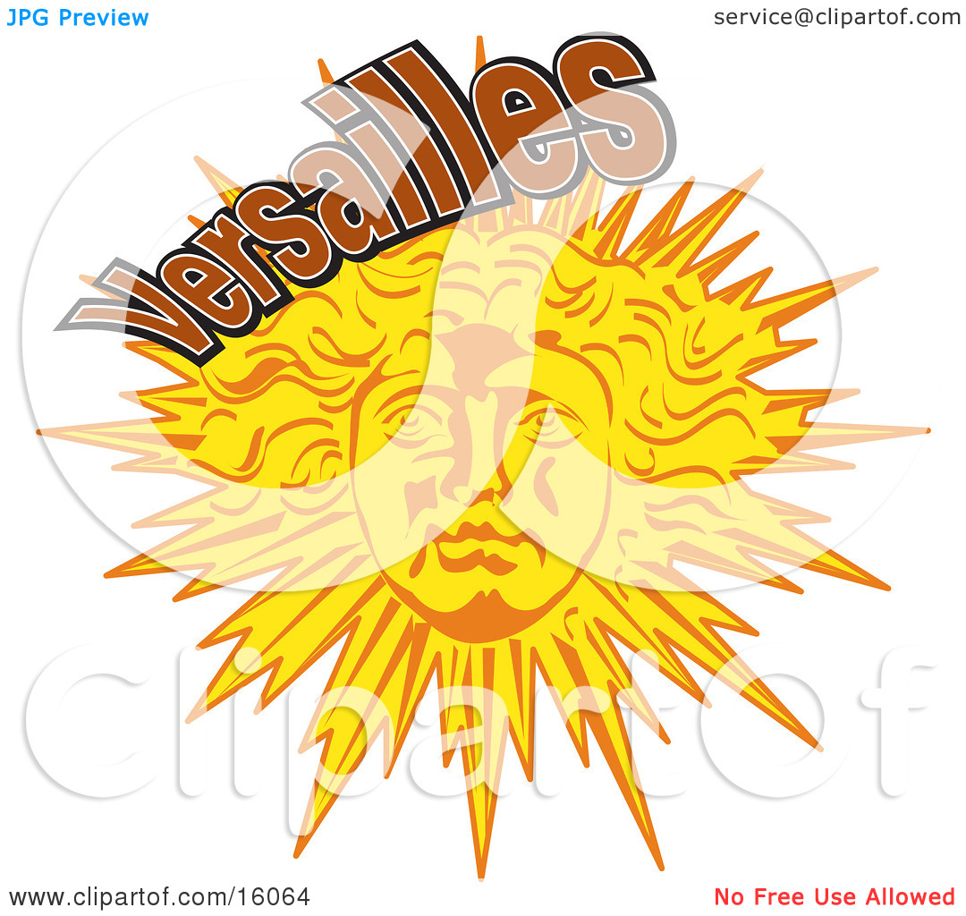 Face On The Sun In Versailles, Paris, France Clipart Illustration.