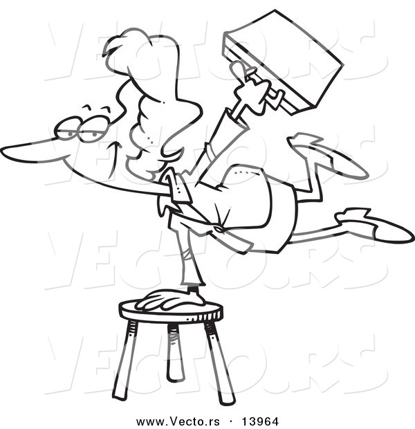 Vector of a Cartoon Versatile Businesswoman Balancing on a Stool.