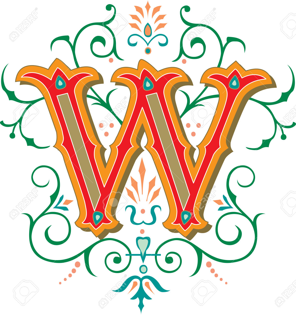 Beautifully Decorated English Alphabets, Letter W Royalty Free.