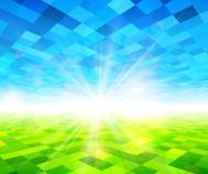 Verschwommen Grüne Wiese UND Blauer Himmel MIT Sommersonne premium.