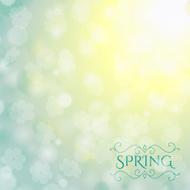 Der Frühling Ist Kommenden Schriftzug Im Hintergrund Verschwommen.