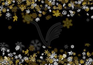 Schneefall Hintergrund mit goldenen Schneeflocken verschwommen.