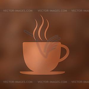 Kaffeetasse Symbol mit Dampf, Bohnen, verschwommen.