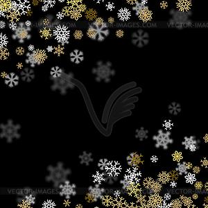 Hintergrund mit goldenen Schneeflocken verschwommen.