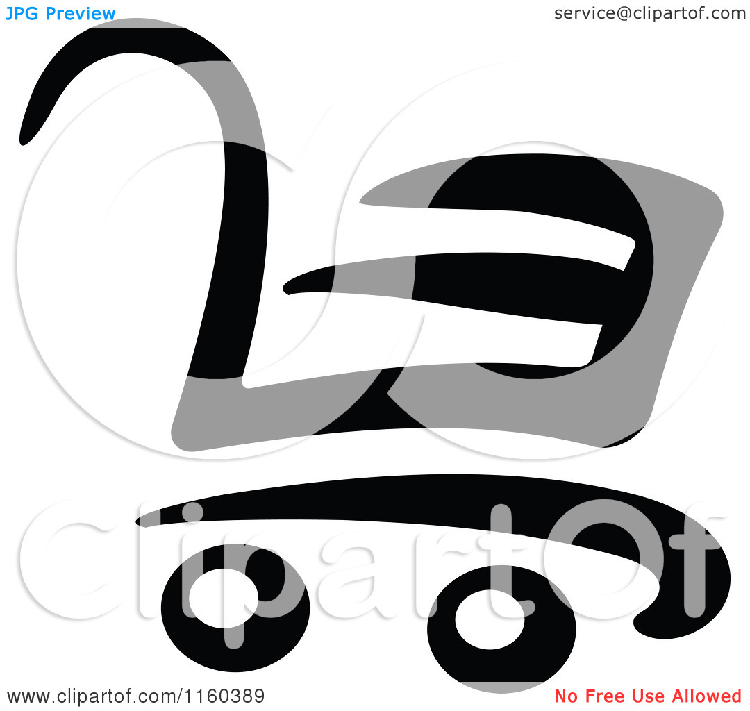 Clipart of a Black and White Shopping Cart Version 3.
