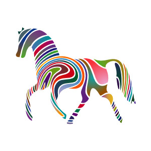 Waved Horse Spring Version clip art.