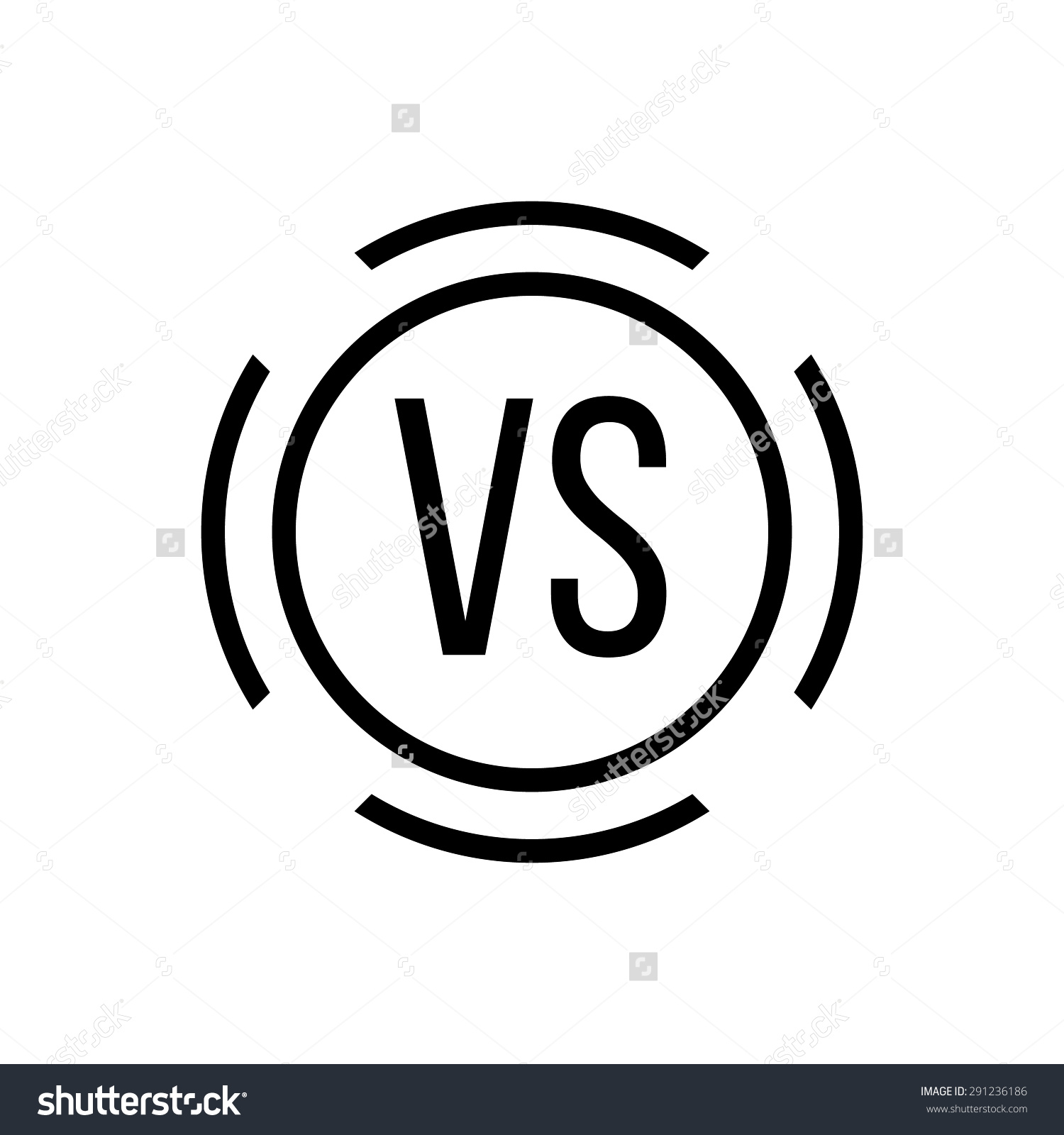 Black Versus Sign Circle Concept Defensive Stock Vector 291236186.