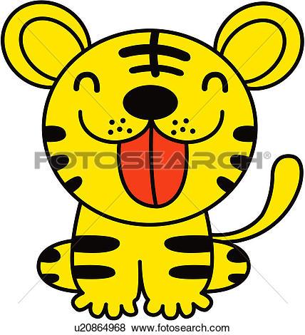 Clip Art of fortune, tiger, land animal, vertebrate, animal.