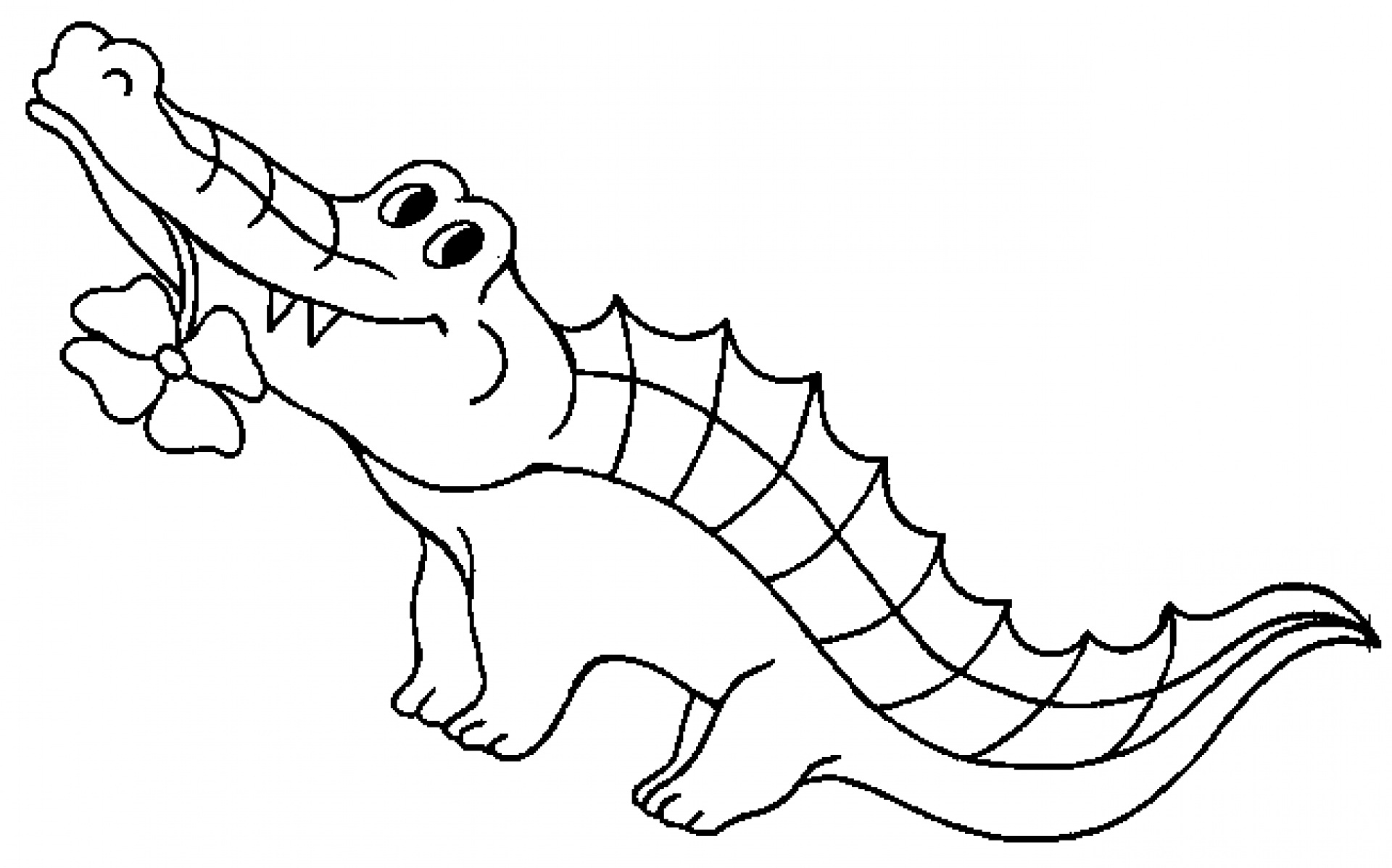Cute Alligator Clipart Black And White.