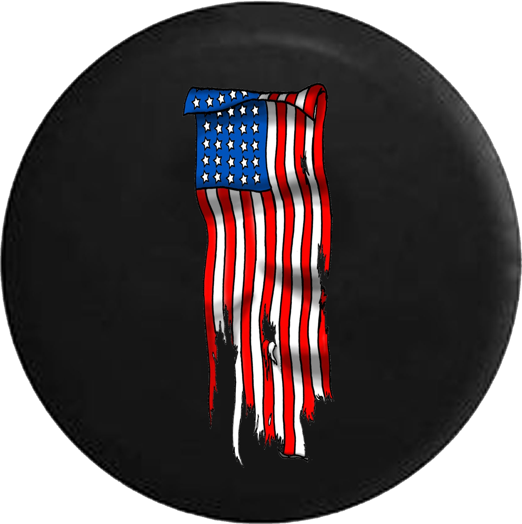 Vertical Tattered American Flag Jeep Camper Spare Tire.