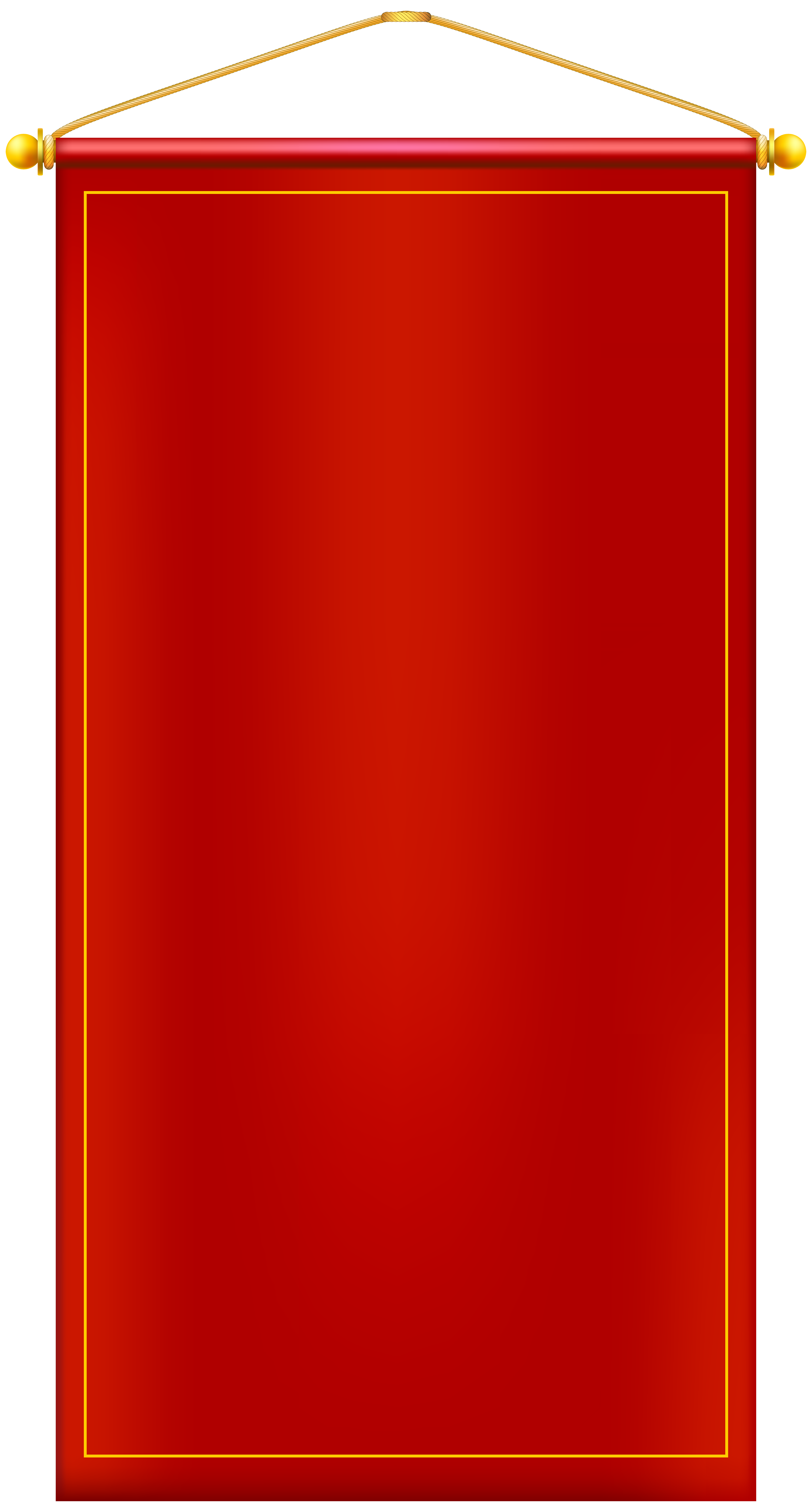 Vertical Red Banner PNG Clip Art Image.