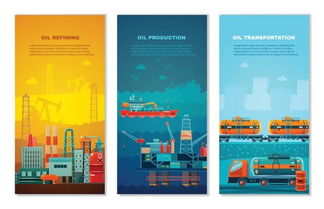 Petroleum Industry Vertical Banners Set Clipart Image.
