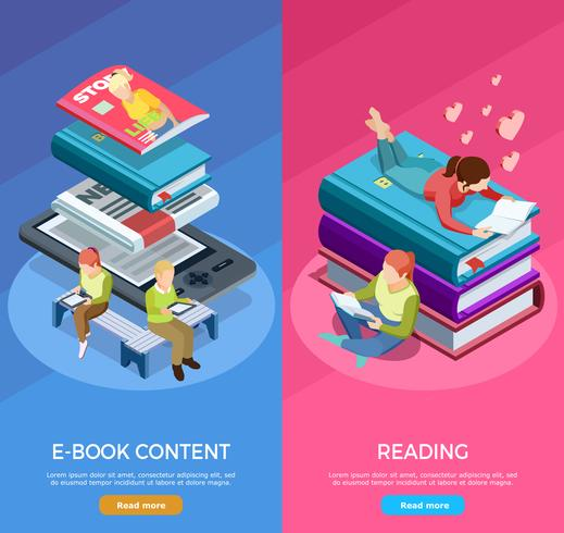 Isometric Vertical Reading Banner Set.
