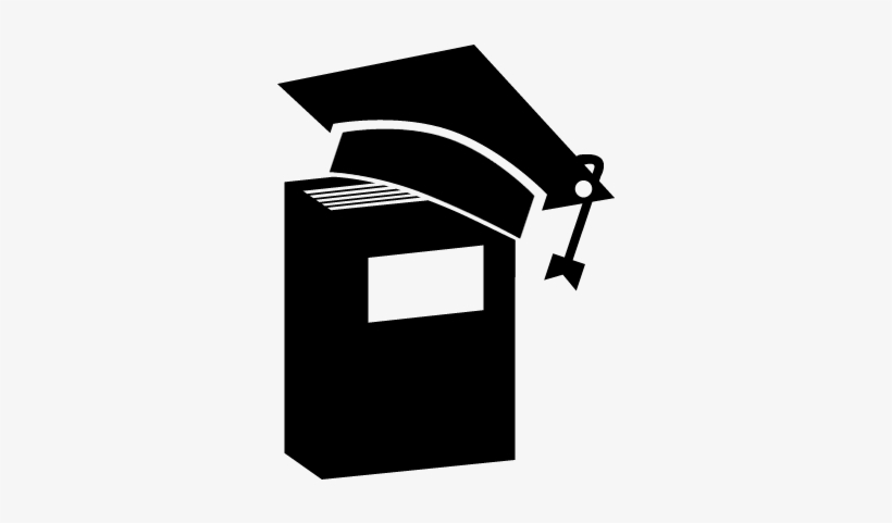 Graduation Cap On A Book In Vertical Position Vector.