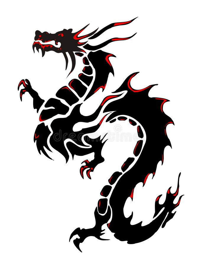 Dragon. Silhouette of a black dragon on a white background.