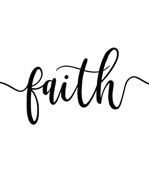 Faith, Hope, Love Printable Three Word Set, Calligraphy.