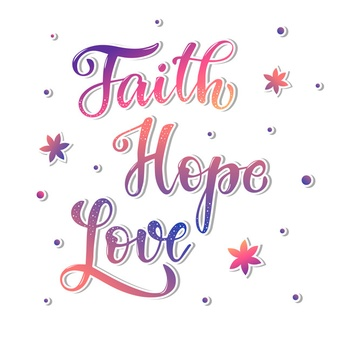 Cute hand lettering quote \'faith hope love\' Vector.