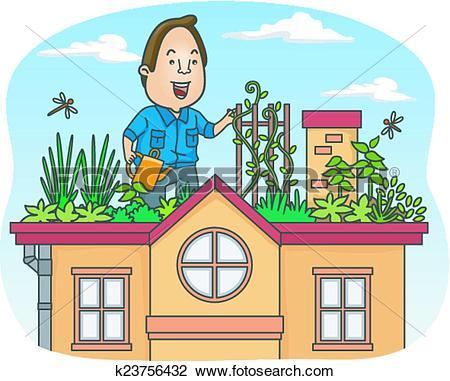 Clipart of Vertical Garden Man k21546943.