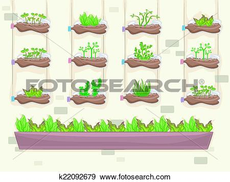 Clip Art of Recycled Vertical Garden k22092679.