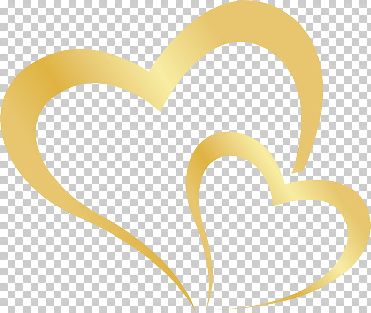 Two hearts, two gold heart illustrations PNG clipart.