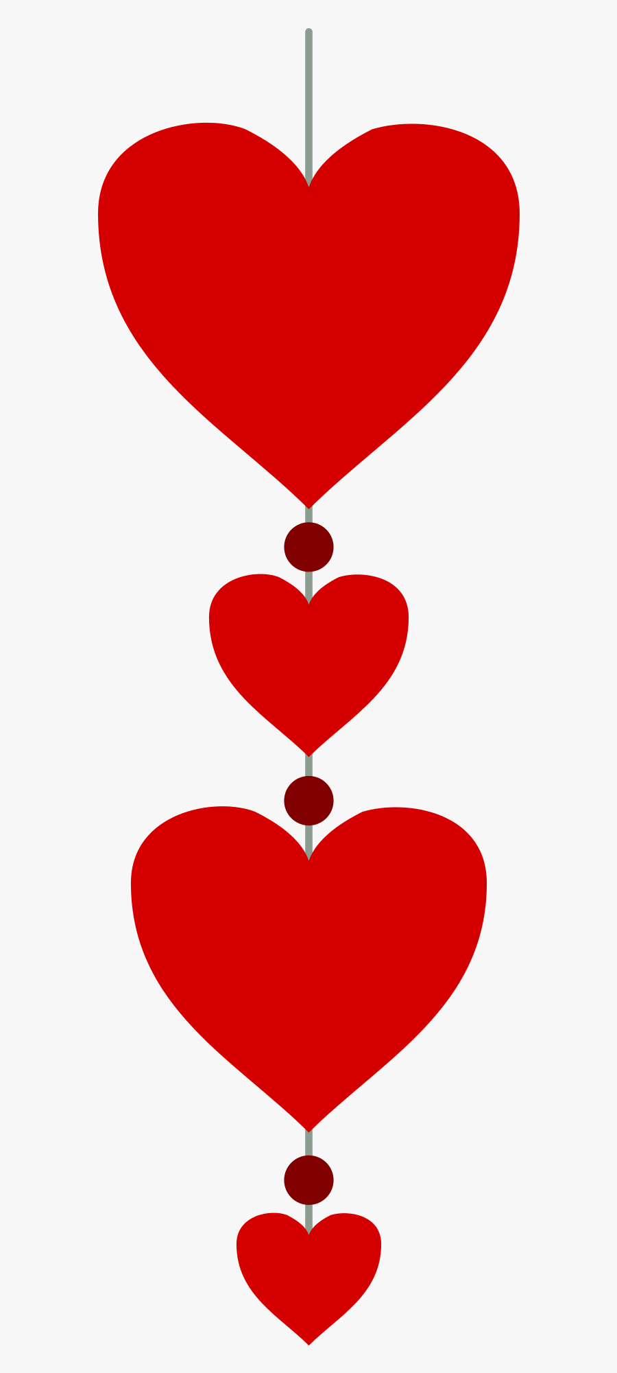Hearts In A Vertical Line Png Image.