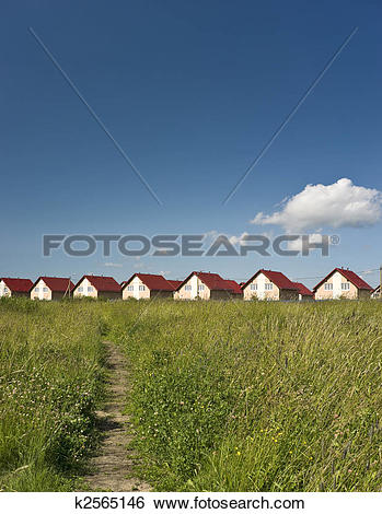 Stock Images of Path to cottage town vertical k2565146.