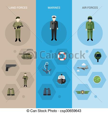 EPS Vector of Military Banners Vertical.