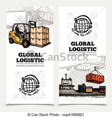 Vector Illustration of Global Logistics Vertical Banners.