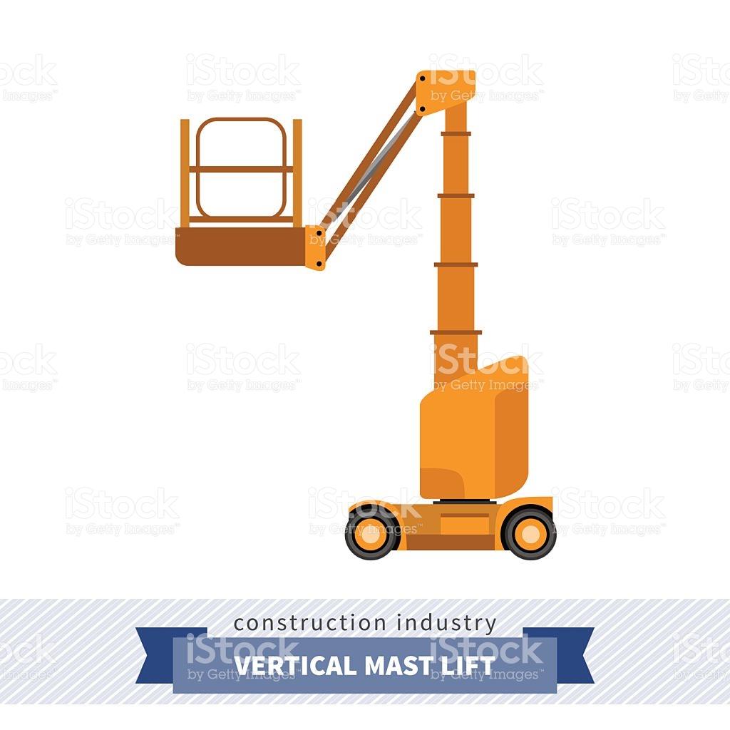 Aerial Man Vertical Mast Lift Crane stock vector art 537409814.