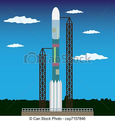 Clip Art Vector of Rocket ready to launch.