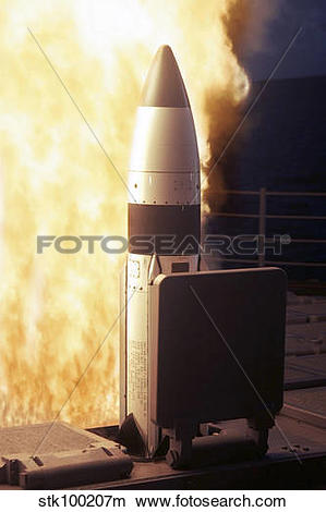 Stock Photo of A Standard Missile Three is launched from the.