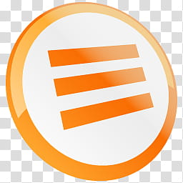 Dock icons, round orange and white horizontal line logo.