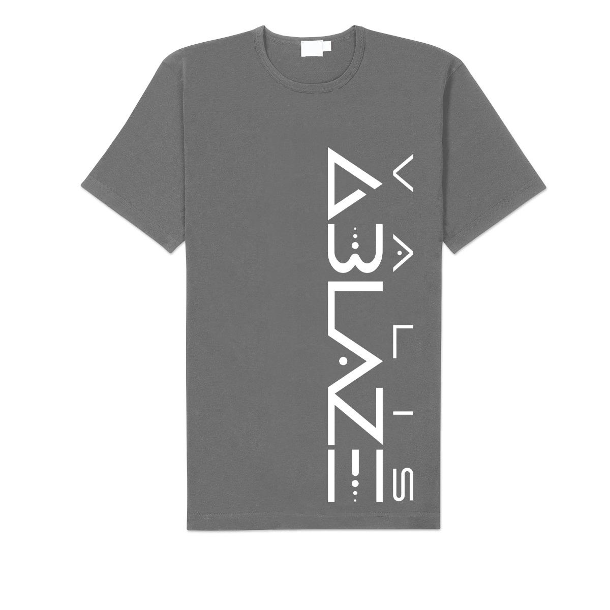 Valis Ablaze Vertical Logo Grey T.
