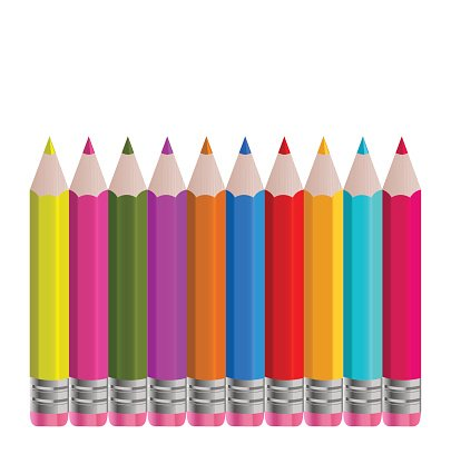 Set colorful vertical pencils isolated on white background.