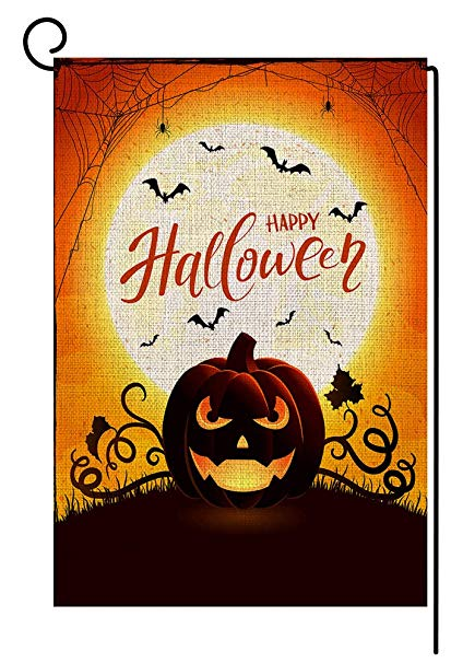 BLKWHT Happy Halloween Fall Garden Flag Vertical Double Sided 12.5 x 18  Inch Autumn Pumpkin Yard Decor.