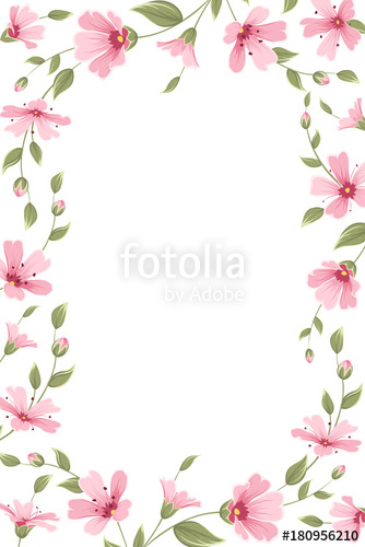 Gypsophila baby breath floral border frame template on white.
