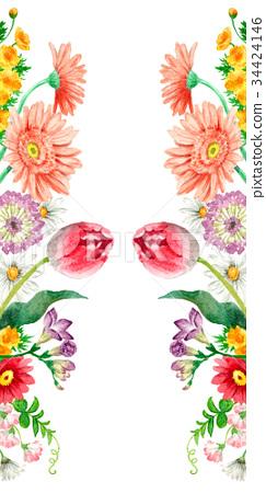 Spring flower vertical border frame.