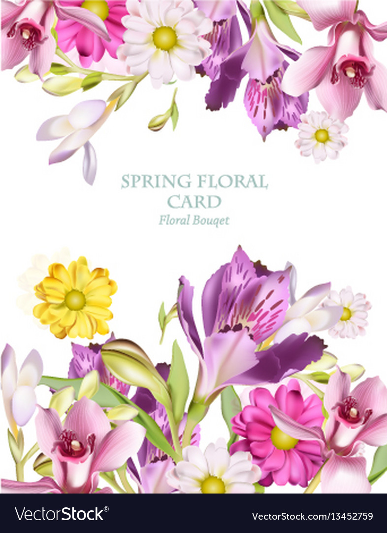 Spring flowers bouquet vertical card background.
