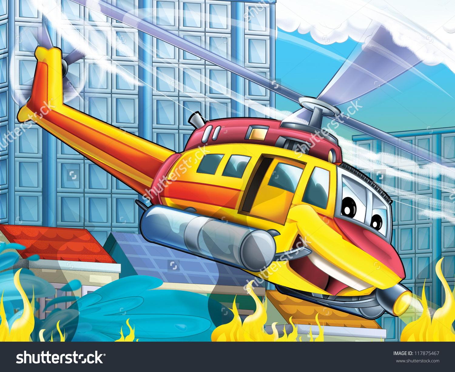 Cartoon Helicopter Rescue Situation Fire Vertical Stock.