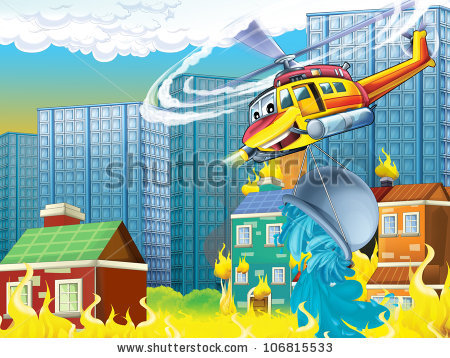Cartoon Helicopter 3 Rescue Situation Fire Stock Illustration.