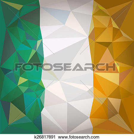 Clipart of flag of Ireland Low poly style k26817891.