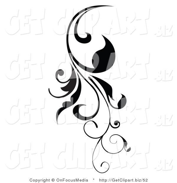 Clip Art of a Vertical Black Scroll Vine Design Element.