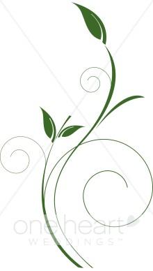 Delicate Vertical Green Vine Clipart.