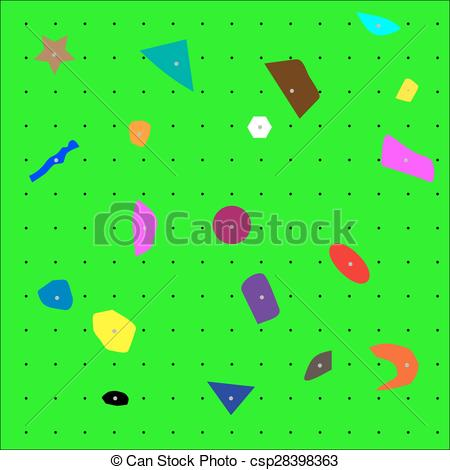 Clip Art Vector of Climbing wall pattern close up. Surface and.