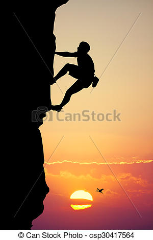 Stock Illustration of climbing vertical wall.
