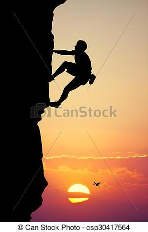 Stock Illustration of climbing vertical wall.