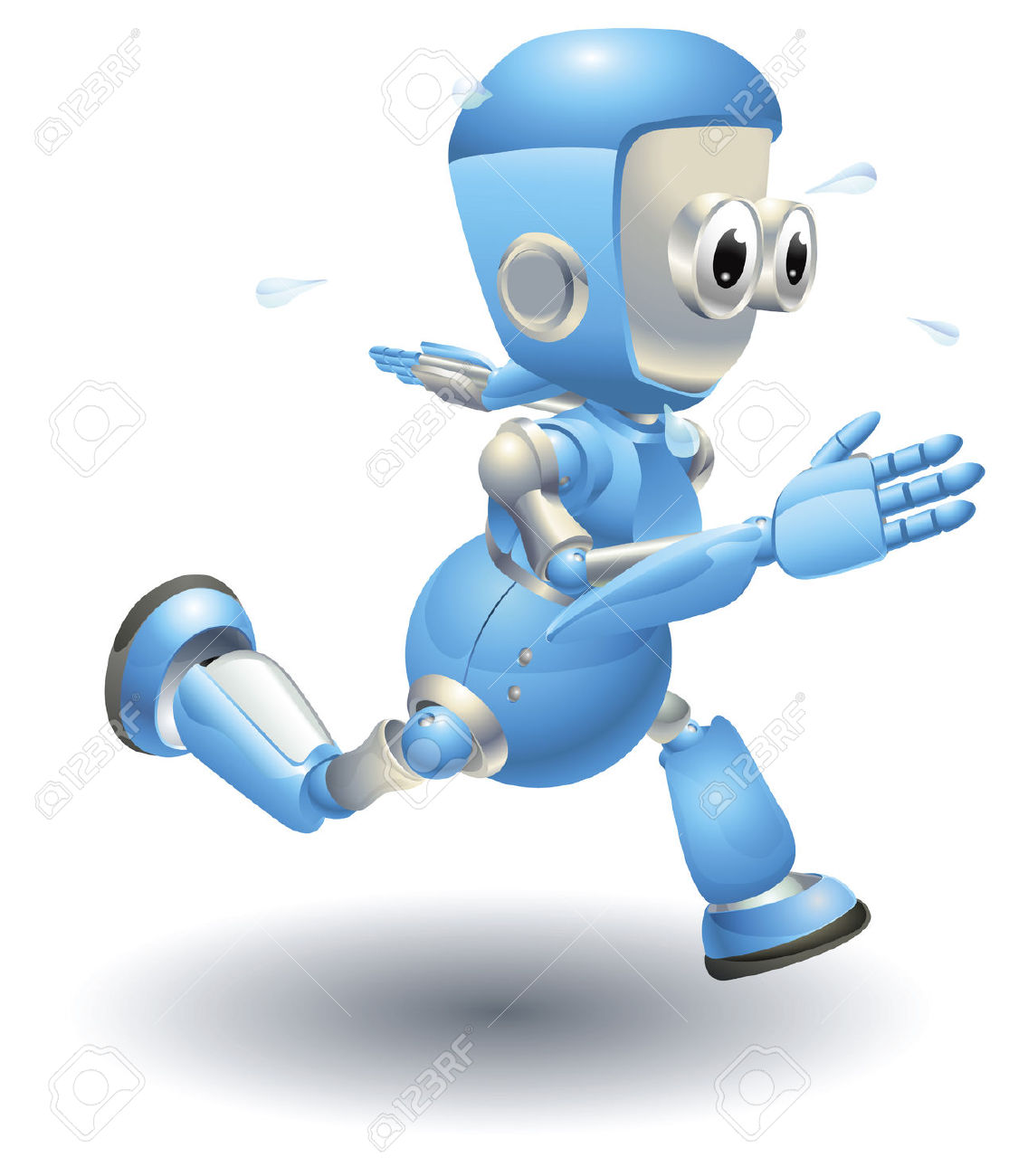 A Cute Blue Robot Character Running Very Fast And Sweating Royalty.